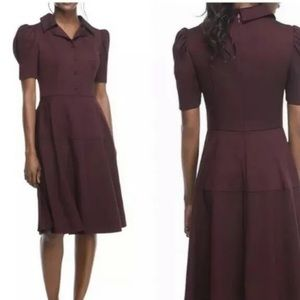 Gal Meets Glam red burgundy collared shirt dress